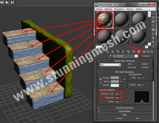 Noise Modifier to Make Stairs in 3D Studio Max