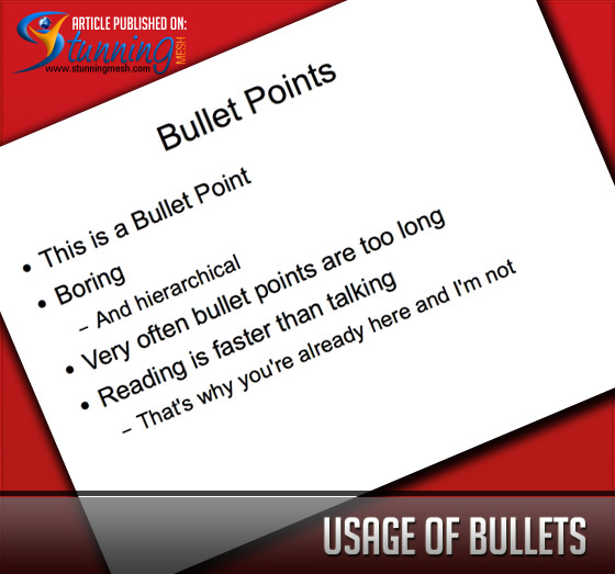 Quality Content - Usage of Bullets