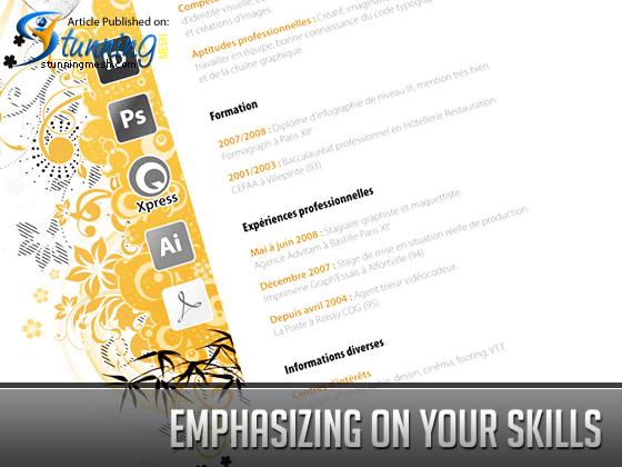 Emphasizing on Your Skills