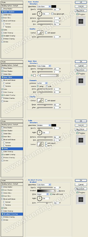 Four Photoshop Dialogue Boxes