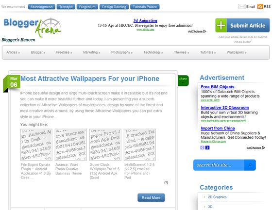 BloggerArena - Best Place to Submit your Articles, Tutorials, News