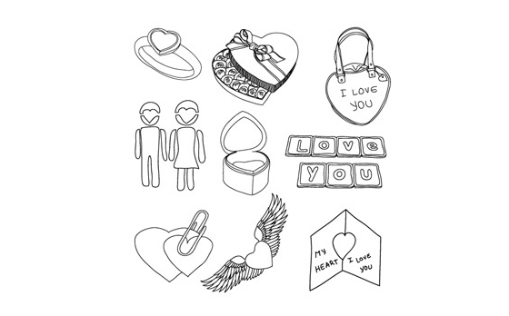 Hand Draw Valentine's Day Vector Doodles