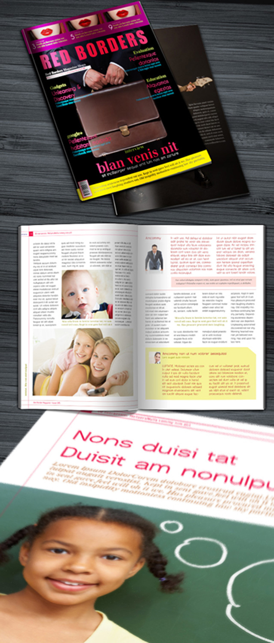 Free Red Borders InDesign Magazine template