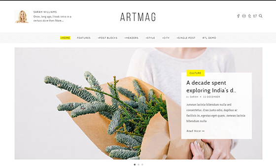 Artmag = Clean WordPress Blog and Magazine Theme - Best Themes Trending In 2016